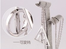 2015 Jewelry Can Be Rotated Vintage Pendant Unisex Round Collares Necklace The Rotatable Deathly Hallows Pendent(China (Mainland))