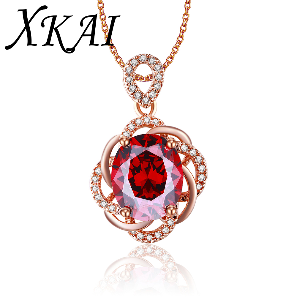 Rose gold plated necklace Vintage Red Ruby jewelry CZ diamond jewelry fashion Wedding Luxury Pendants for Women gifts XKN010(China (Mainland))