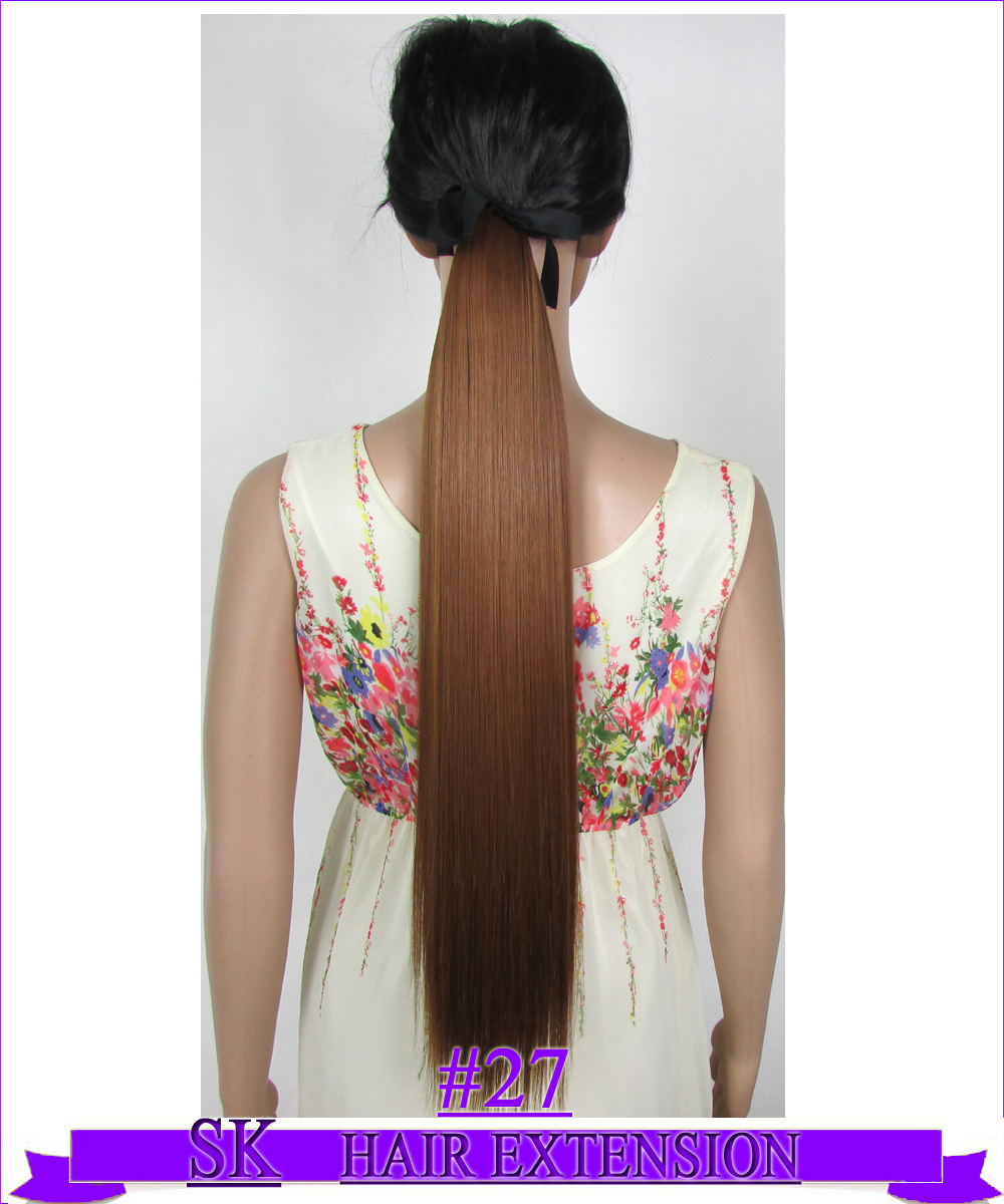 22 (55cm) 90g straight ribbon ponytail no shiny hot resistant fiber clip in hair extensions color #27 Medium Golden Brown<br><br>Aliexpress