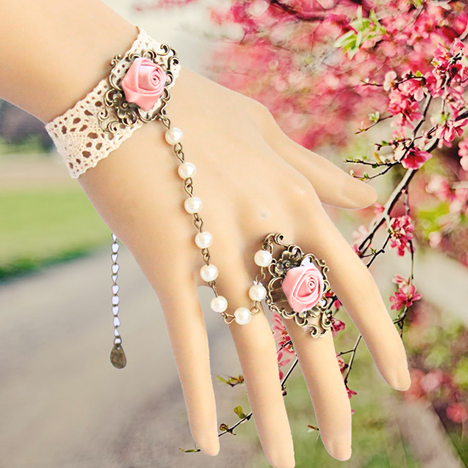 Promotion gothic lolita lace bracelets vintage wedding bridal bridesmaid hand bangle retro pearl bracelet set B119 - Kay's Wedding store