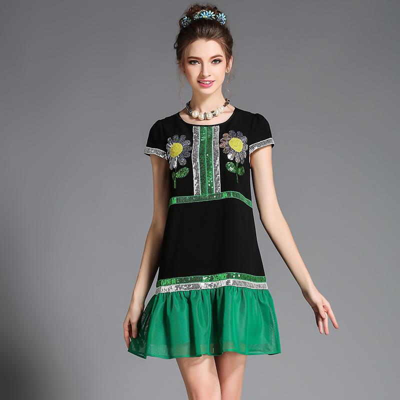 Women Plus Size Clothing Luxe Embellished Ruffle Trim Summer Day Dress l,xl,2xl,3xl,4xl,5xl(China (Mainland))
