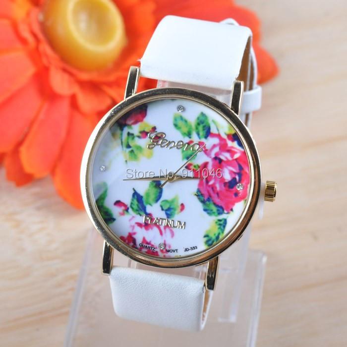 Free DHL shipping,100pcs/Lot, Promotion Geneva Leather watches Women Fashion Rose Flower Watch For Ladies Quartz WristWatches(China (Mainland))