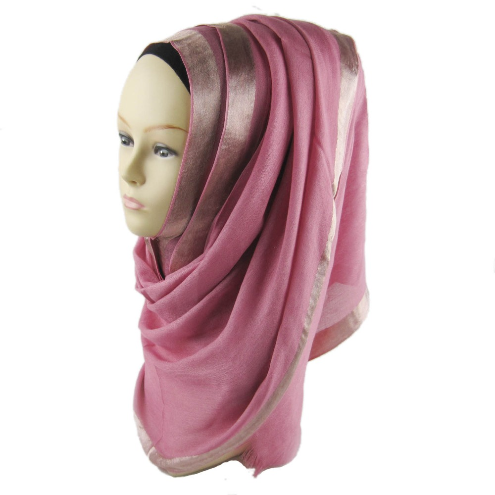 OnePiece Women Scarf Hijab New 2016 Female Satin Border Viscose Scarves Plain Viscose Real Shawl Hijabs170*60 cm Free Shipping(China (Mainland))
