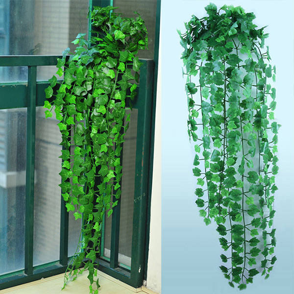 2017 New Delightful Natural 1Pc 8.2Feet Green Artificial Hanging Ivy Leaves Garland Plants Vine Flowers Home Decor(China (Mainland))