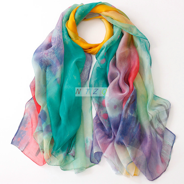 High Quality Silk Flower Spring/Summer Scarf 70% Natural silk stoles Women Outdoor sunscreen Shawl Scarves big size 180cm*100cm(China (Mainland))