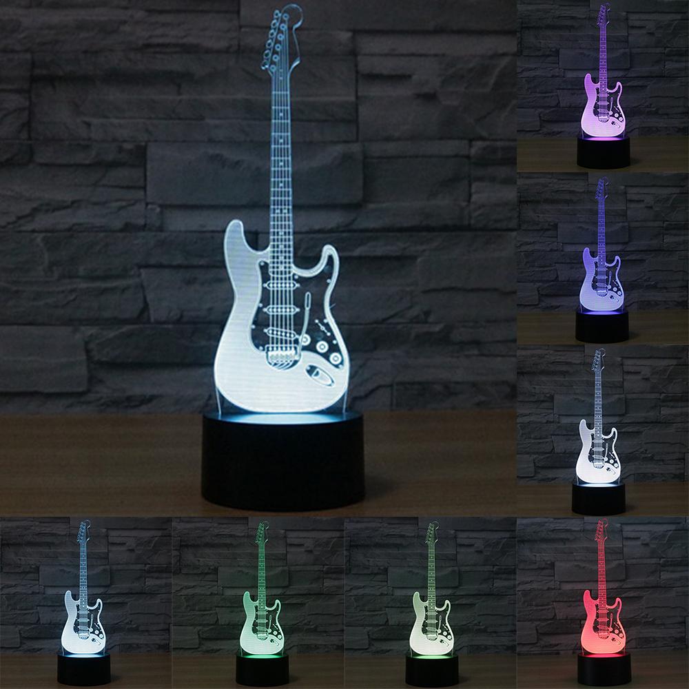 Creative 3D light electric guitar Model Illusion 3d Lamp LED 7 Color changing USB touch sensor desk light Night Light IY803726(China (Mainland))