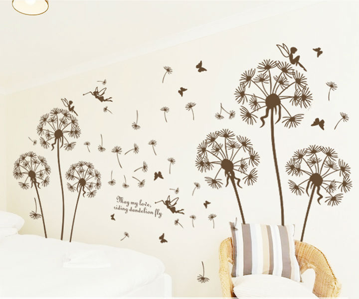Dandelion Fly And Angle Wall Stickers For Kids Rooms Home Decor DIY Wallpaper Art Decals House Decoration CT256(China (Mainland))