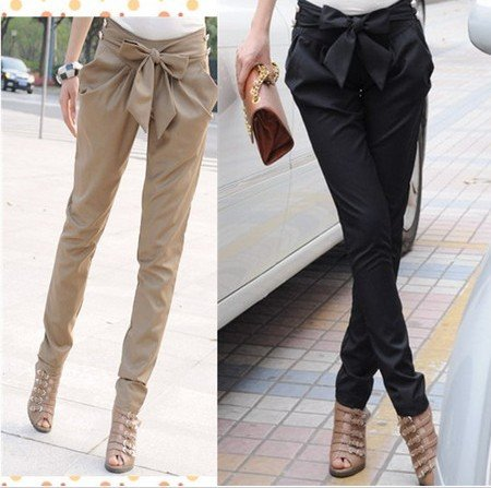2015 high waist women s Skinny Long Trousers OL casual Bow harem pants plus size Black