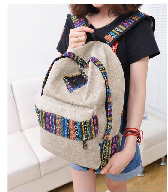 Новый 2016 женский mochila bolsas женщины этнической краткое холст рюкзак элегантное ...