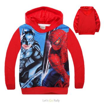 Spring Autumn kids hoodies Children Printing Red Batman Outwears Children's Sweatshirts Casual Boy Cotton MS0618