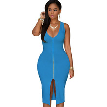 S-4XL 2016 Sexy Dress Club Plus Size Women Party Dresses Bodycon Sundress Package Hip Blue Red White Black Midi Summer Dress	(China (Mainland))