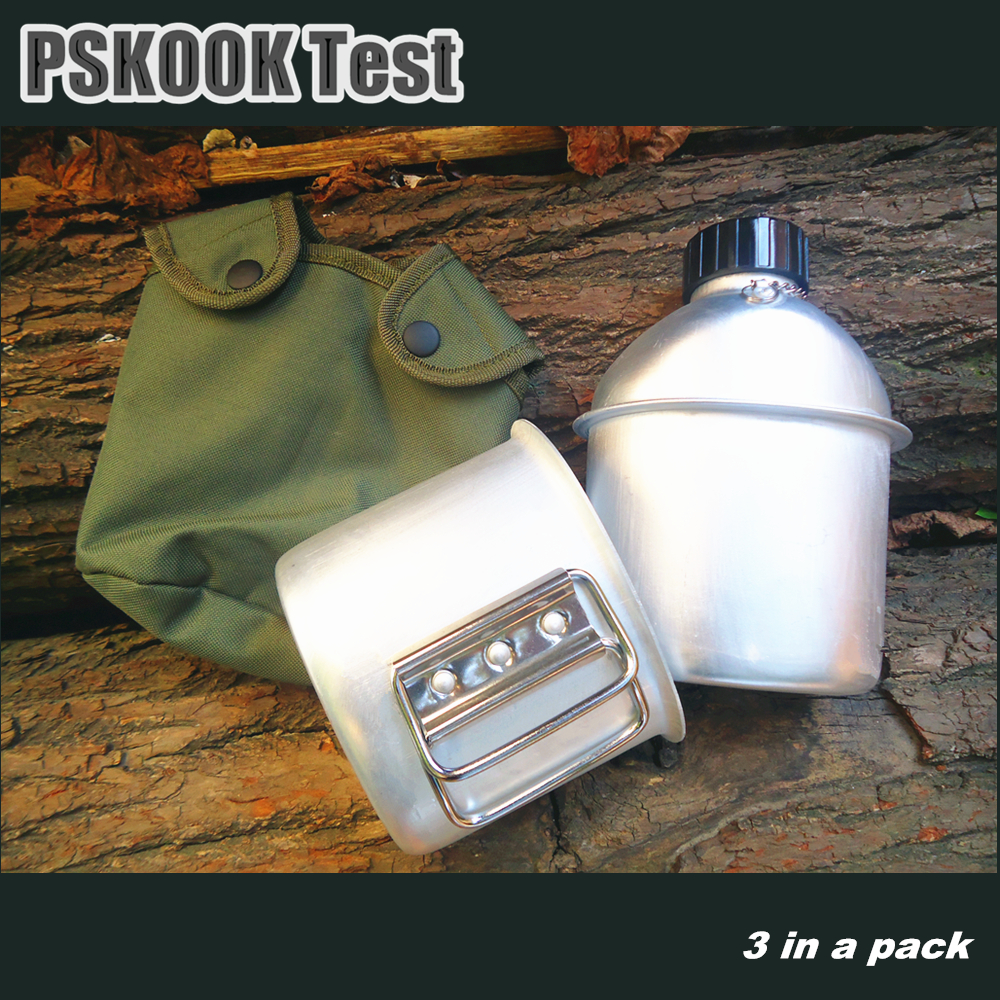 PSKOOK Outdoor Canteen Aluminum Military Water Bottle Army Hanging Bag Bottle Cup Camping Cooking Set Lunch Box 1set(China (Mainland))