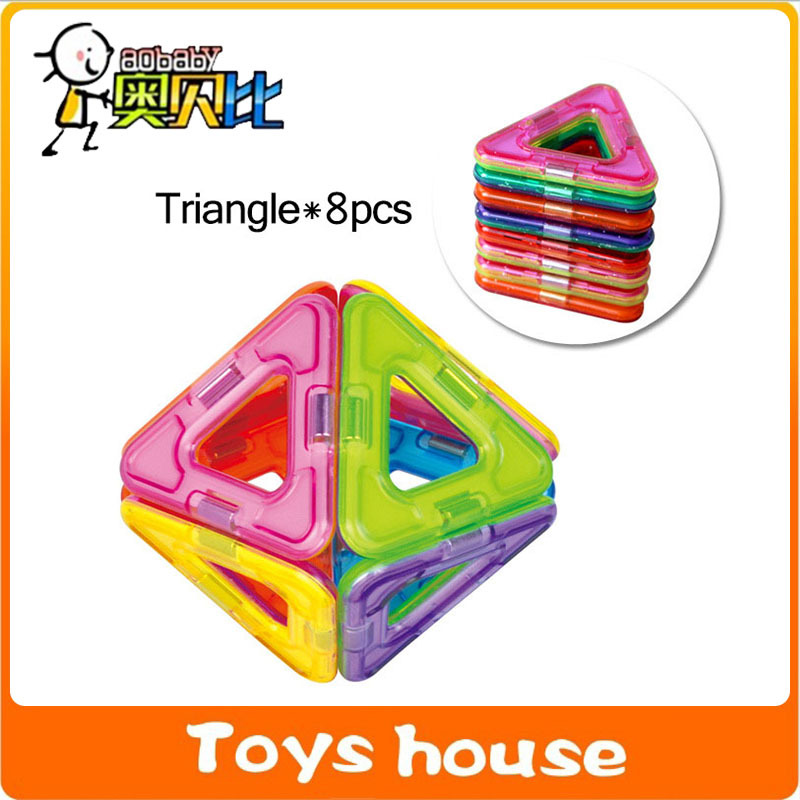 8PCS Triangle 3D MAGNETIC BUILDING TOYS educational toys DIY Toys Magnetic Toy magnetic building blocks(China (Mainland))