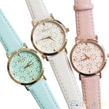 Women s Geneva Faux Leather Band Elegant Flower Casual Analog Quartz Wrist Watch 6LA1