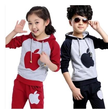 Autumn fall boy girls clothing set big kids sports suit for 7 year old boy shirt size