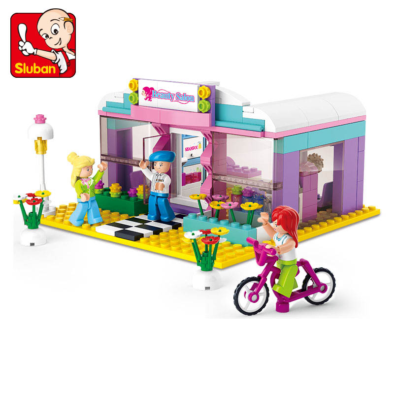 Sluban 243pcs Building Blocks Toys Girl Dream Series Hair Color Image Store action figure baby toys for children(China (Mainland))