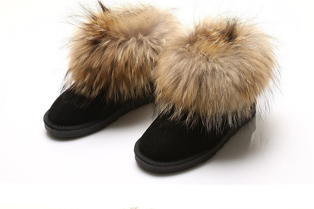 100% Nature Leather Fox Fur Women Winter Snow Boots Top Quality Warm Winter Ankle Shoes Botas Femininas Plus Size 40