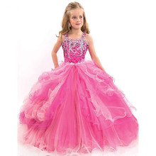 Buy 2016 Custom Made Pink Halter Girls Pageant Ball Gown Crystal Beadings Ruffles Tiered Organza Flower Girl Dress for $95.20 in AliExpress store