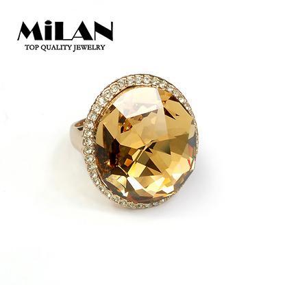 Free Shipping Wholesale 18KRGP Big Pigeon Egg Yellow Crystal Rings Fashion Party Women Jewelry(Milan MJ0045)(China (Mainland))