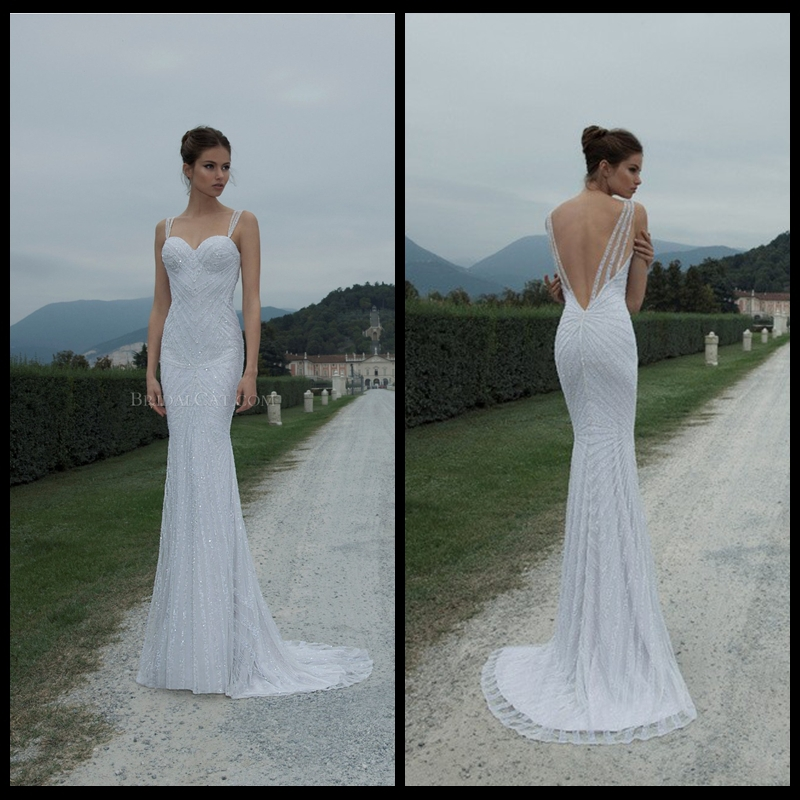 2014 berta bridal spaghetti strap sequins luxy sheath sexy for Spaghetti strap backless wedding dress