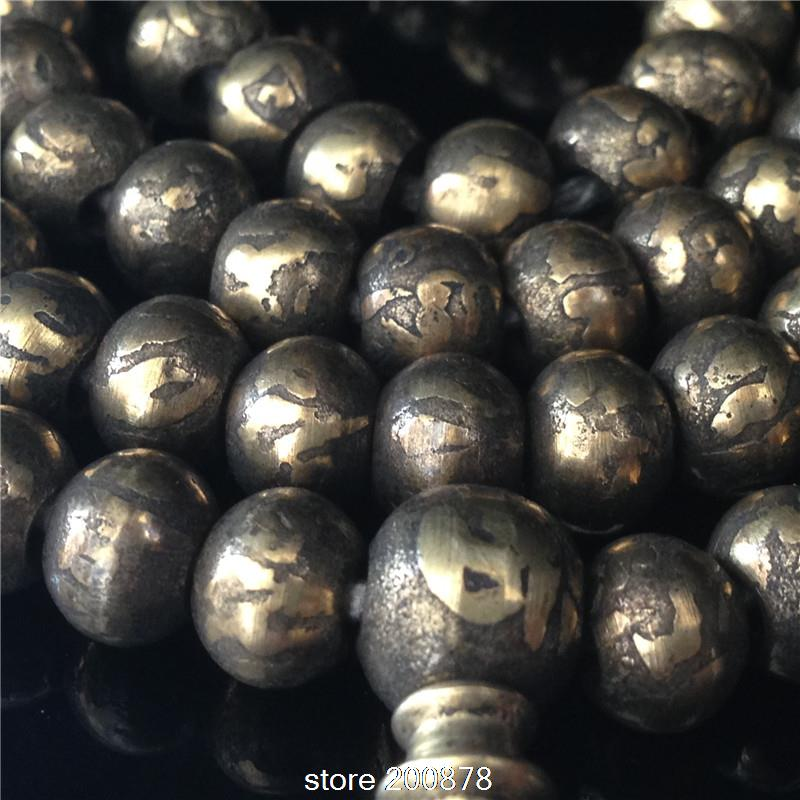 BRO778   Tibetan Buddhist 108 beads Solid  brass Mantras Rosary,8*5mm,Painted OM mantras Prayer beads Mala,Free shipping<br><br>Aliexpress