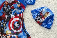The new children s cartoon cute boys swimsuit piece boxer swimwear swimsuit hooded superhero