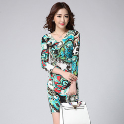 2015 Women's Summer Fashion Printed Stretch Pencil Dress V-neck half sleeve Beaded Wrap Waist Dresses