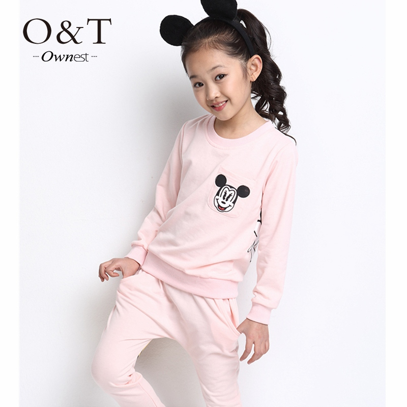 Kids/girls lovely clothing sets children's suit shirt+pants 2pcs autumn models girls suit new sports package printing(China (Mainland))