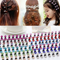 12Pcs lot Kid Girls Cute Rhinestone Crystal Flower Hair Claws Clamp Clip Hairpins Headwear Accessory Crystal