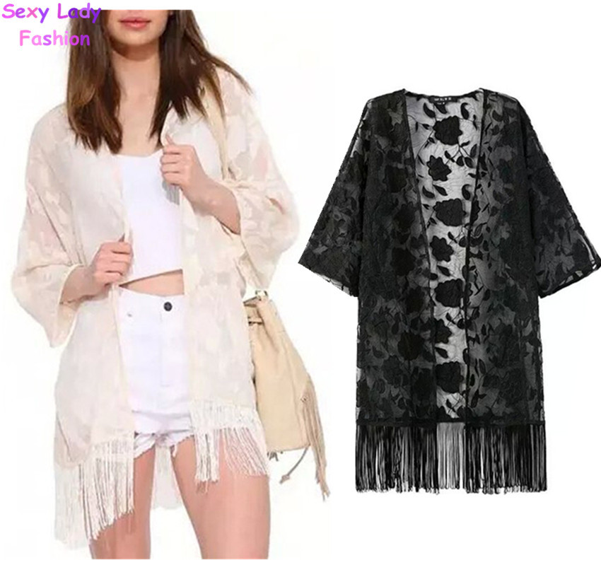 New women lace crochet embroidered flower kimono