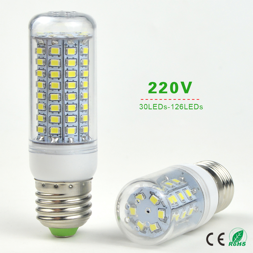 1X 220V E27 LED Corn Lamp 30/48/56/69/89/102/126 LEDs Bulb Replace CFL ESL 7W 12W 15W 20W 25W 30W 35W Compact Fluorescent Light(China (Mainland))