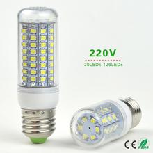 1X 220V E27 LED Corn Lamp 30/48/56/69/89/102/126 LEDs Bulb Replace CFL ESL 7W 12W 15W 20W 25W 30W 35W Compact Fluorescent Light(China (Mainland))