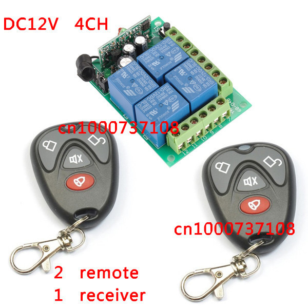 DC12V 4CH Wireless Remote Switch Learning code Receiver and Transmitter Home Automation Kit<br><br>Aliexpress