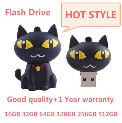 cute cat usb flash drive 256g 128g 64gb 32gb animal pendrives 1tb 2tb flash memory stick 4gb usb pen drive real capacity usb 2.0(China (Mainland))
