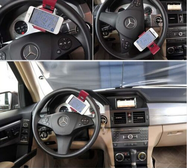 2015 wholesale Cheap Sale! Hot Universal Car Steering Wheel Mobile Phone Holder for iPhone 4S 5 5S 5C Galaxy S4 S5 GPS MP4 PDA(China (Mainland))