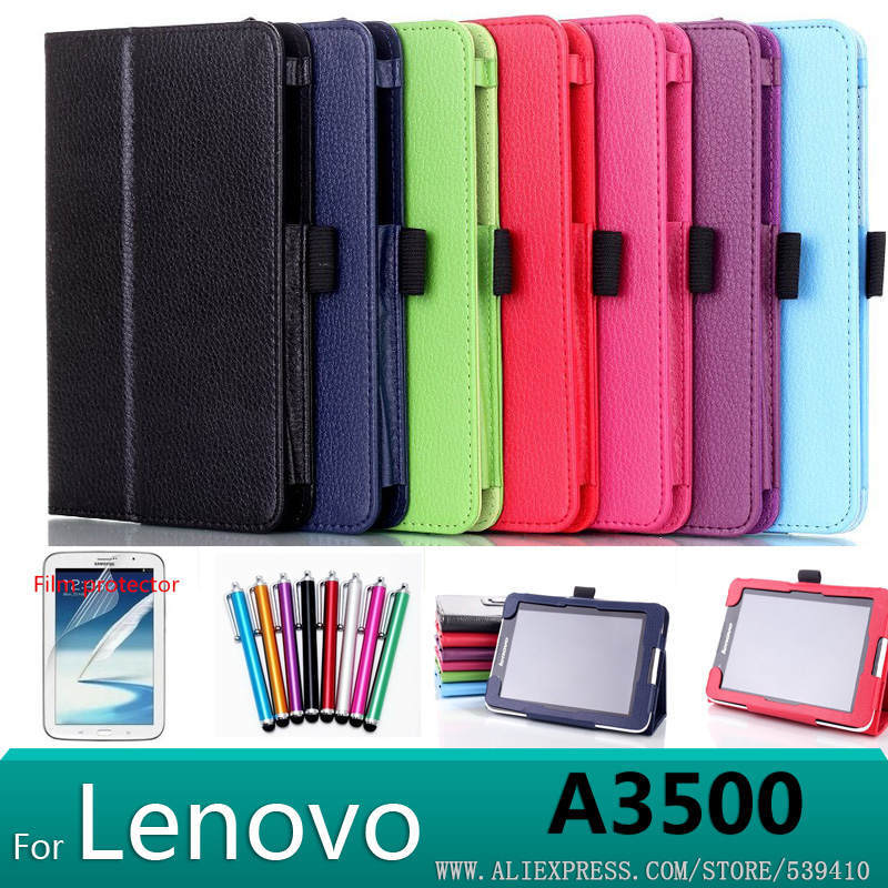 In store !New  50pcs/lot Stand Litchi leather Case cover For Lenovo A3500 A7-50 for Lenovo tab a3500 7 Tablet bag DHL free<br><br>Aliexpress