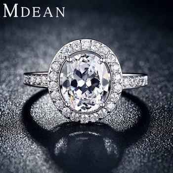 MDEAN Oval luxury rings for women platinum plated jewelry wedding Engagement bague AAA zirconia Accessories bijouterie MSR102