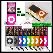 4th Gen. 100% Built-in 8GB Memory (Virtual 32G) Ultrathin 1.8″ LCD Screen MP3/MP4 Player FM Video,Earphone+USB Cable+Crystal Box