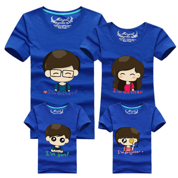2015 Korean Fashion Family Matching Clothing Cartoon Father Mother Daughter Son Printed Summer T shirt Children's Clothing