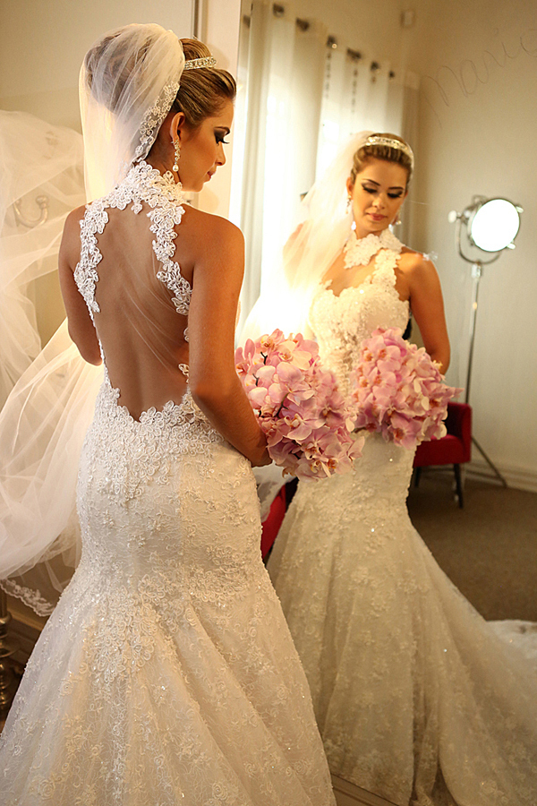 Latest Style High Neck Sheer Tulle Back Mermaid Beaded Lace Wedding Dress Bridal Gown Size 4