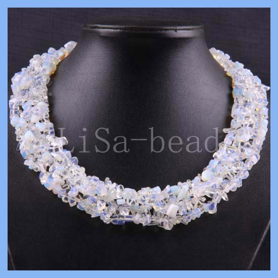 """Free Shipping Free Shipping Jewelry 4X8MM Light blue Opal Chip Beads Nylon Line Weave Necklace 18"""" 1Pcs RE050(China (Mainland))"""