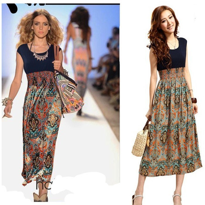 Vintage Fashion Joint Ethnic Boho Tribal India Hippie Long Beach Casual Dress(China (Mainland))