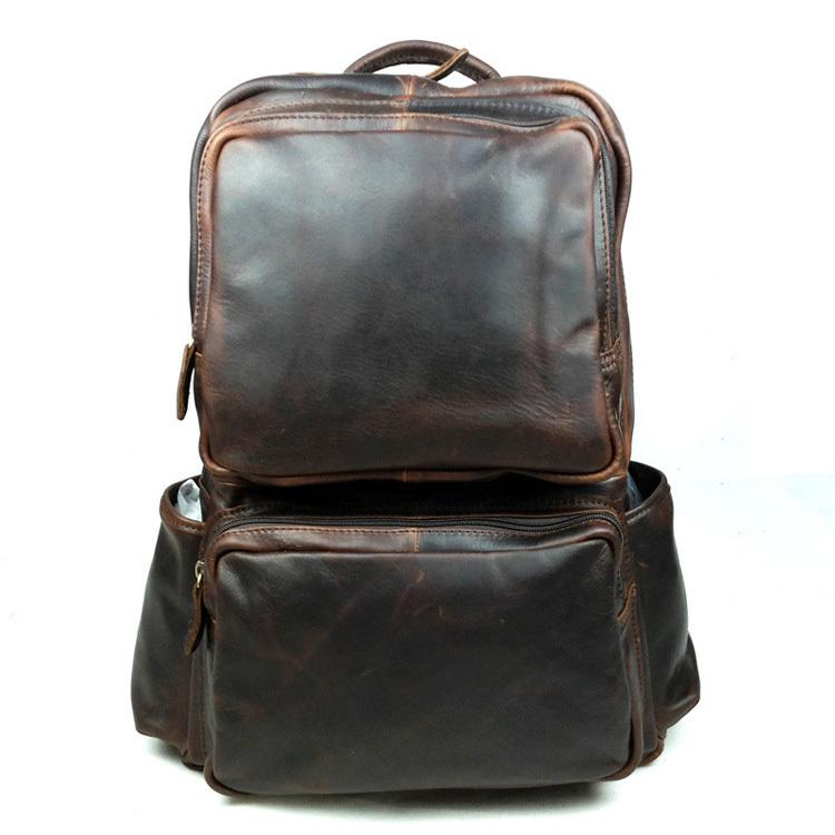 2015 New men genuine leather travel bag multi-function double-shoulder bag men vintage backpack<br><br>Aliexpress