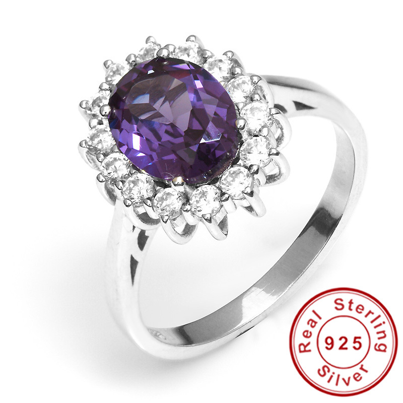 2 4ct Alexandrite Sapphire Ring Luxury Princess Diana William Engagement Wedd