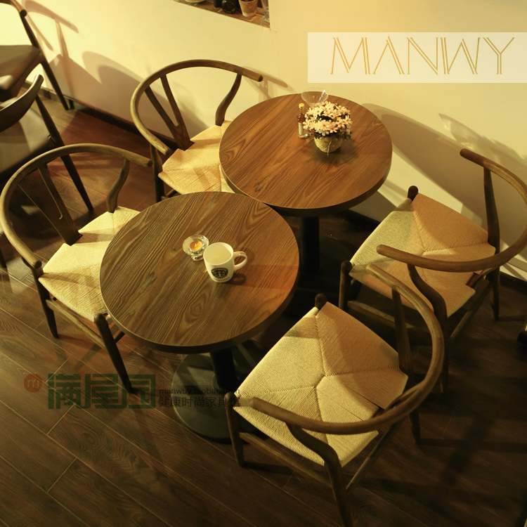 Vintage American country Y chair wishbone ash wood chairs restaurant tea shop cafe tables and chairs(China (Mainland))