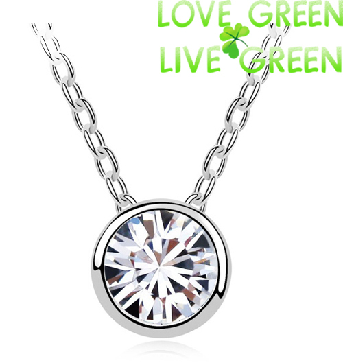 2014 party wedding Free shipping fashion Brand import zircon classic 18K Gold short chain Necklace pendants jewelry 84428(China (Mainland))