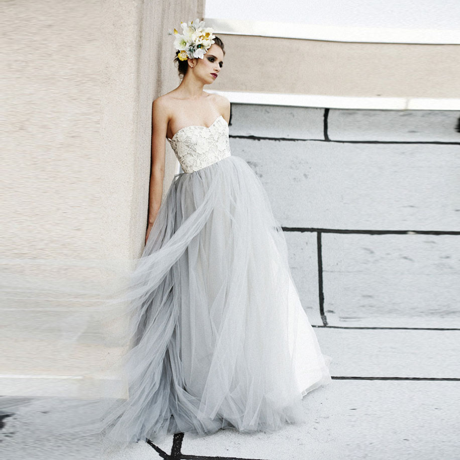 Vintage light gray tulle lace wedding dresses puffy 2016 for Gray dresses for a wedding