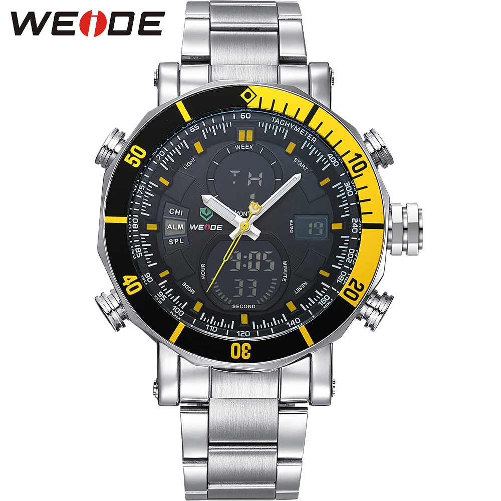 WEIDE Mens Watches Top Brand Luxury Analog Digital LCD Quartz Military Army 30M Waterproof Blue Dial Wrist Watch with Gift Box<br><br>Aliexpress
