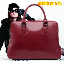 New Arrival Fashion genuine leather business casual handbag messenger bag, cowhide evening tote, dual function bag for women(China (Mainland))