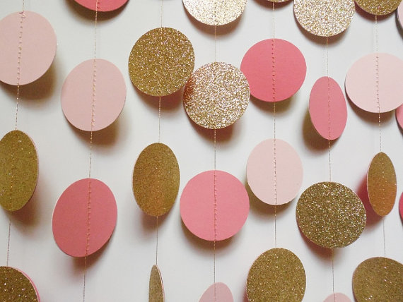 Blush pink coral and gold glitter circle garland paper for Gold dot garland